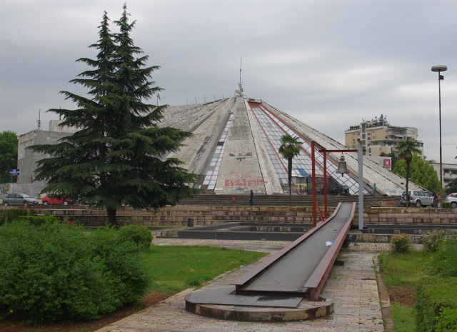 Hoxha pyramid 2011 - with Peace Bell installation