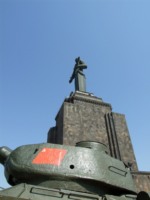 Mother Armenia 21 - soviet flag and maternal statue