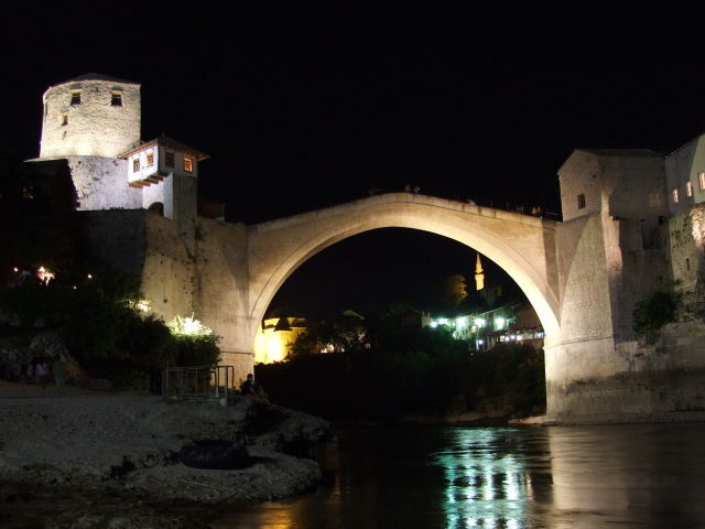 Mostar Old Bridge by night