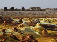 Danakil 15 - former sulphur mining works in the background at Dallol