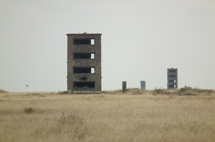 22 11 2015   measuring towers radiate out from ground zero at the Semipalatinsk Test Site