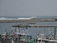 Fukushima 55 - restored fishing harbour and ocean waves