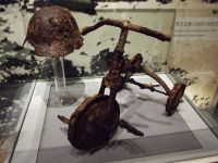 Hiroshima Peace Museum 08b - famous tricycle exhibit in the old exhibition - donated to the museum by Nobuo Tetsutani