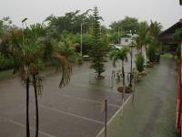 Paramaribo 41 - car-park-turned-river by flooding after heavy rain