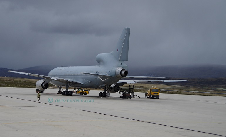05 10 2017   illegal photo of large RAF tanker plane at Mount Pleasant AB, Falklands