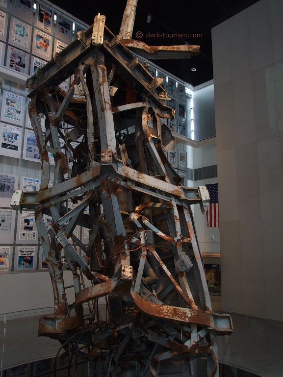 11 09 2017   mangled top of the mast of the WTC North Tower, Newseum