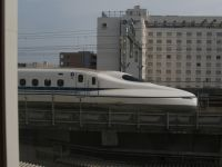 Japan 03b - bullet train seen from a Kyoto hotel window