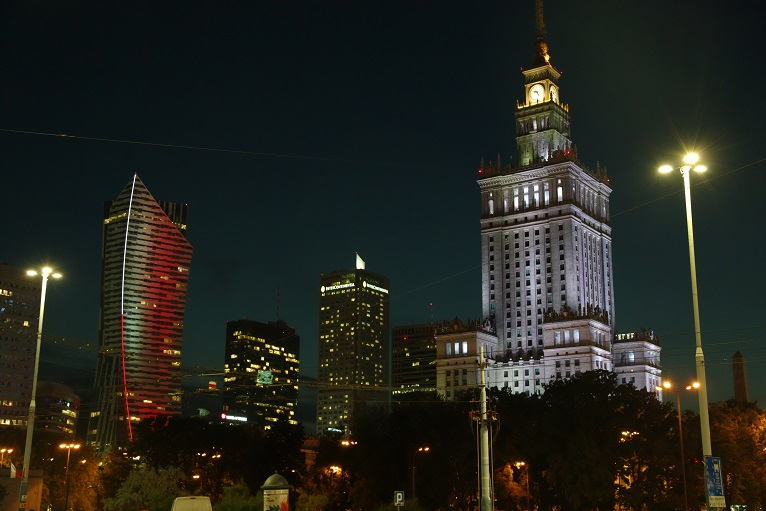 Warsaw 01   modern cityscape by night